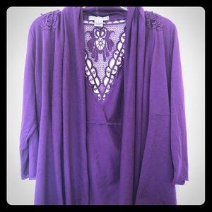 Lightweight purple sweater with crochet detailing